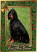 Gordon Setter Prints - Gordon Setter Dog Christmas Print by Olde Time  Mercantile