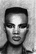 Illustrator Pastels Metal Prints - Grace Jones  Metal Print by Ronnie Melvin
