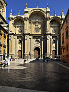 Historic Streets Prints - Granada Cathedral Print by Guido Montanes Castillo
