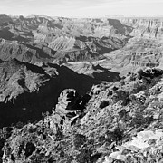 Grand Canyon Photo Metal Prints - Grand Canyon Eastern Sunset View Square Black and White Metal Print by Shawn OBrien