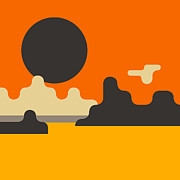 Minimal Landscape Digital Art - Grand Canyon by Jazzberry Blue