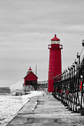 Blowing Snow Framed Prints - Grand Haven Lighthouse Framed Print by Todd Bielby