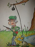 Duck Hunting Drawings - Grandpa Jake by Jake Huenink