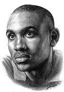 Basketball Sports Drawings Prints - Grant Hill Print by Harry West
