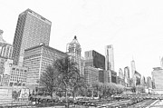 Chicago Drawings Metal Prints - Grant Park Chicago Metal Print by Dejan Jovanovic
