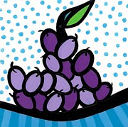 Purple Grapes Paintings - Grapes by Mary Tere Perez