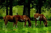 Friendly Digital Art - Grazing Paint Horses by Sheila Savage