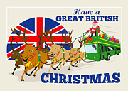 Double Decker Posters - Great British Christmas Santa Reindeer Doube Decker Bus Poster by Aloysius Patrimonio
