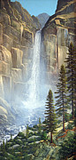 Waterfalls Painting Framed Prints - Great Falls Framed Print by Frank Wilson