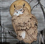 Great Painting Originals - Great Horned Owl by Sandra Maddox