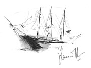 Great Men Sailing Print by Laurie D Lundquist