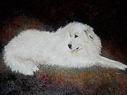 Domestic Dogs Painting Prints - Great White Pyrenees Dog Print by Nan Wright