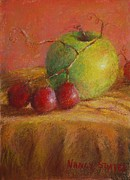 Original Art Pastels - Green Apple by Nancy Stutes