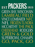 Green Bay Framed Prints - Green Bay Packers Framed Print by Jaime Friedman