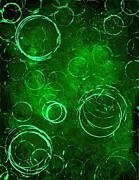 Fun Mixed Media Prints - Green Bubbles Print by Mike Grubb
