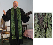 Orange Trees Tapestries - Textiles - Green Earth 2 Cotton Clergy Stole by Julie Rodriguez Jones