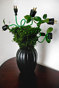 Vase Framed Prints - Green Energy Floral Arrangement of Electrical Plugs Framed Print by Amy Cicconi