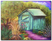 Shed Pastels - Green Garden Shed by Janet Hull