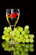 White Grape Framed Prints - Green grapes and a glass of white wine Framed Print by Tommy Hammarsten