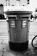 Pillar Box Prints - Green Irish Double Post Box With Post And Telegraphs Logo Dublin Republic Of Ireland Print by Joe Fox