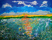 Mixed Media Art Paintings - Green Lake Sunrise by Donna Blackhall