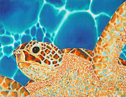 Aquatic Tapestries - Textiles Framed Prints - Green Sea Turtle Framed Print by Daniel Jean-Baptiste