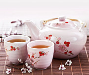 Cherry Blossom Photos - Green tea set by Elena Elisseeva
