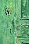 Medieval Entrance Posters - Green Wood Weathered Door Poster by David Letts