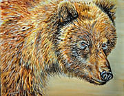 Brown Bear Paintings - Grizzly Head by Doug Heavlow