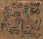 Grotesque Drawings - Grotesque Faces II by Don Michael
