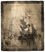 Historic Schooner Photos - Grungy Historic Seaport Schooner by John Stephens