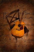 Music Score Digital Art Metal Prints - Guitar No.5 Metal Print by Brian Enright
