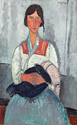 Shawl Collar Framed Prints - Gypsy Woman with Baby Framed Print by Amedeo Modigliani
