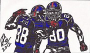 Sports Art Drawings Posters - Hakeem Nicks and Victor Cruz Poster by Jeremiah Colley