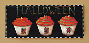Halloween Folk Art Posters - Halloween Cupcakes Poster by Catherine Holman