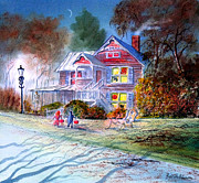 The Haunted House Paintings - Halloween Trick Or Treat by Bill Holkham