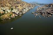 Human Being Prints - Hampi, Tungabhadra River Print by Nicolas Chorier