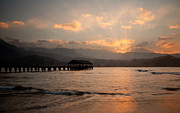 Hanalei Pier Sunset Framed Prints - Hanalei Pier at sunset Framed Print by Steve Heap