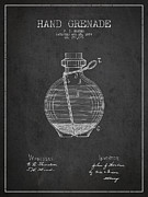 Hand Grenade Patent Drawing From 1884 Print by Aged Pixel