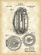 Device Digital Art Prints - Hand Grenade Patent Print by Stephen Younts