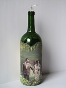 Parents Mixed Media Originals - Hand Painted Wine Bottle With Your Photo by Kris Crollard