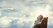 Christian Prayer Photos - Hands in sky by Les Cunliffe
