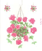 Trio Drawings Posters - Hanging Basket Trio Poster by Dusty Reed