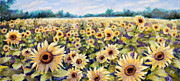 Yellow Flowers Pastels Posters - Happiness Field Poster by Susan Jenkins