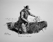 Quarter Horse Drawings Framed Prints - Happiness is a Tight Rope Framed Print by Kelly Killough
