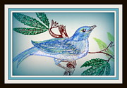 Featured Pastels Prints - Happy Blue Bird Print by Patricia Blanton