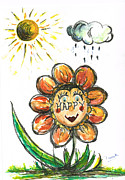 Smiling Mixed Media - Happy Flower by Teresa White