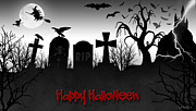 Headstones Digital Art Posters - Happy Halloween Poster by Brian Wallace