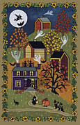 Haunted House Print Posters - Happy Halloween Poster by Medana Gabbard