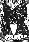 Relief Printing Framed Prints - Happy New Year Cat  Framed Print by Ellen Miffitt